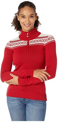 Dale of Norway Cortina Merino Feminine Sweater (Raspberry/White) Women's Clothing