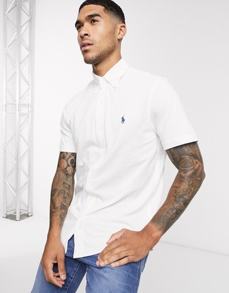 Polo Ralph Lauren short sleeve pique shirt slim fit player logo in white