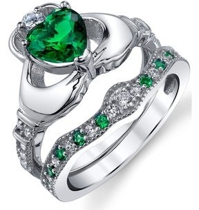 Oliveti Sterling Silver 925 Heart Shape Claddagh Engagement Ring Wedding Bridal Sets with Green Simulated Emerald Cubic Zirconia