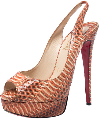 Christian Louboutin Orange Python Leather Slingback Peep Toe Platform Sandals Size 37