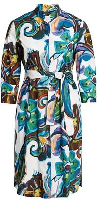 Marina Rinaldi, Plus Size Denotato Printed Poplin Shirtdress