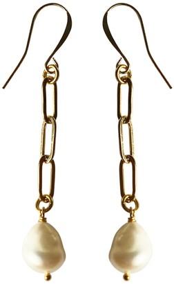 Tiana Jewel Pearl Drop Chain Earrings