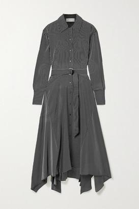 La Ligne Marseilles Belted Pinstriped Silk Crepe De Chine Midi Dress - Black