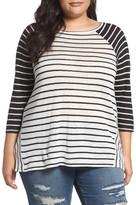 Caslon Stripe Linen-Blend Top (Plus Size)