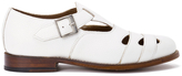 Grenson Women's Briony Grain Leather CutOut Buckle Flats - White