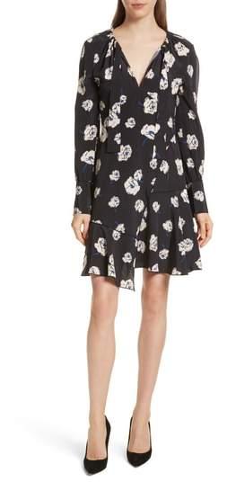 Derek Lam 10 Crosby Floral Ruffle Silk Dress