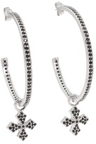 King Baby Studio Large CZ Hoop Earrings with Cross Drop (Mb Cross - Black) - Jewelry