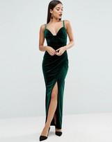 Asos Velvet Plunge Split Skirt Maxi Dress