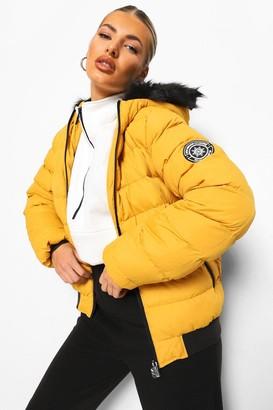 boohoo Faux Fur Trim Puffer Jacket