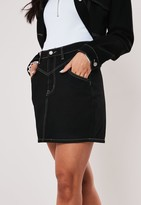 Missguided Black Co Ord Contrast Stitch Denim Mini Skirt