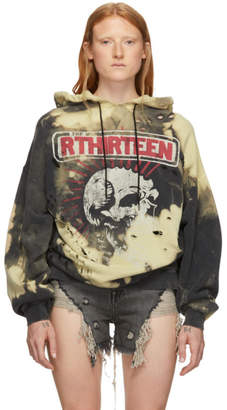 R 13 Black and Yellow Oversized Exploited Punk Hoodie