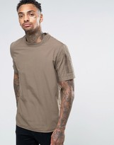 Asos Short Sleeve Mlitary Shirt With Sleeve Pocket In Khaki In Regular Fit