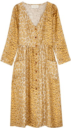 La Prestic Ouiston Cristo Leopard-print Silk Midi Dress