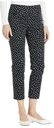 Lisette L Montreal Jackson Dot Pull-On Ankle Pants with Back Slit (Black/White) Women's Casual Pants