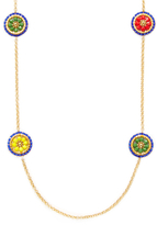 Miguel Ases Beaded Disc Station Necklace