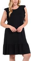 Bellino Black Ruffled Flutter-Sleeve Dress - Plus