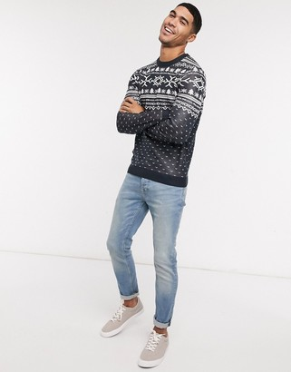 Jack and Jones Originals Christmas sweater in navy fair isle