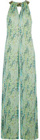 Matthew Williamson Embellished Snake-print Silk-chiffon Jumpsuit - Light green