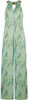 Matthew Williamson Embellished Snake-print Silk-chiffon Jumpsuit - Light green