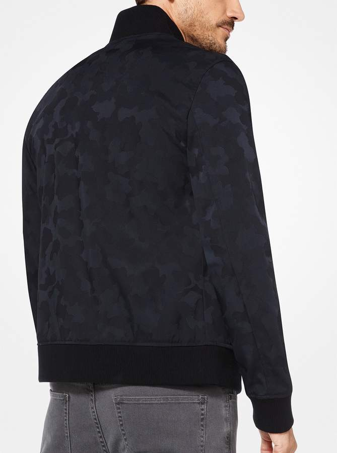 Michael Kors Camouflage Nylon and Wool Bomber Jacket