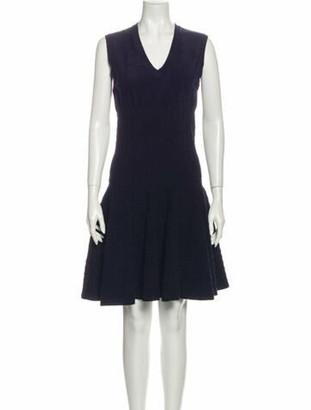 Alaia V-Neck Knee-Length Dress Blue