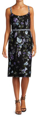 Marchesa Notte Floral Embroidered Tulle Sheath Dress