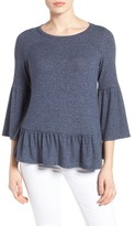 Gibson Petite Women's Cozy Fleece Peplum Top