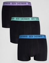 Ben Sherman 3 Pack Boxers with Color Waist Band