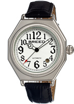 Breed Silver & White Arthur Automatic Leather-Strap Watch