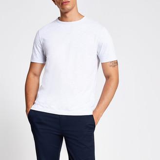 River Island Light grey slim fit crew neck T-shirt