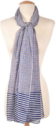 One Kings Lane Striped Silk Scarf - Blue