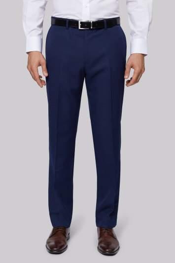 Moss Esq. Regular Fit Blue Texture Pants