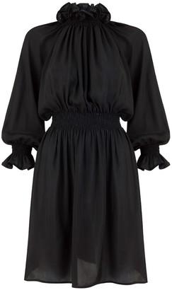MONICA Nera Amelia Black Silk Short Dress