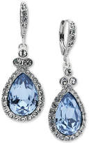 Givenchy Silver-Tone Pave & Blue Stone Drop Earrings