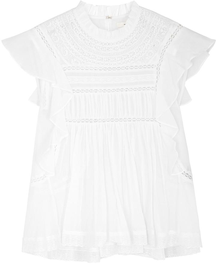 Etoile Isabel Marant Vivia White Lace-trimmed Cotton Top