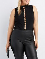 Charlotte Russe Plus Size Mock Neck O-Ring Bodysuit