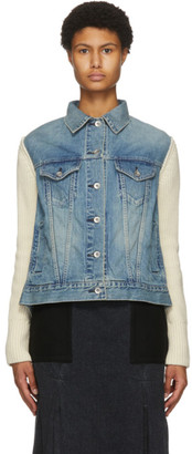 Sacai Blue and Off-White Denim and Wool Jacket