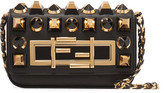 Fendi Baguette Mini Embellished Leather Shoulder Bag - Black