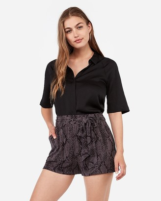 Express Super High Waisted Snakeskin Print Tie Front Shorts