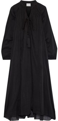 Forte Forte Tie-neck Shirred Cotton And Silk-blend Voile Midi Dress