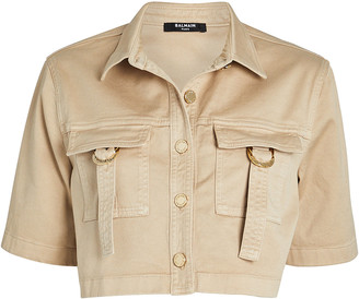 Balmain Cropped Military Button Down Shirt