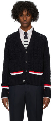 Thom Browne Navy Aran Cable V-Neck Cardigan