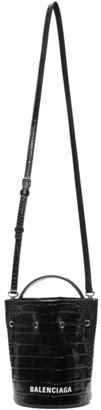 Balenciaga Black Shiny Croc XS Everyday Bucket Bag