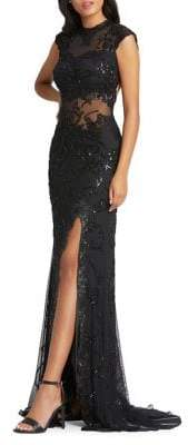 Mac Duggal Sequin Embellished Illusion Gown
