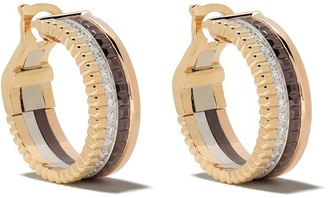 Boucheron 18kt yellow, white and rose gold Quatre Classic hoop diamond earrings
