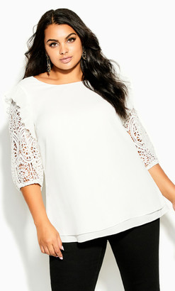 City Chic Lace Breeze Top - ivory