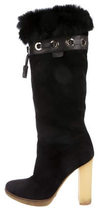 Gucci Suede Round-Toe Knee-High Boots Black Suede Round-Toe Knee-High Boots