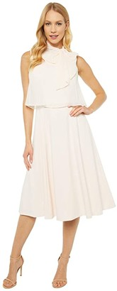 Calvin Klein Popover A-Line Dress with Tie Neck (Blossom) Women's Dress