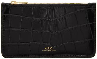A.P.C. Black Croc Willow Card Holder