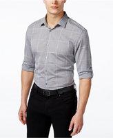 Alfani Men's Big and Tall Windowpane Long-Sleeve Shirt, Only at Macy's